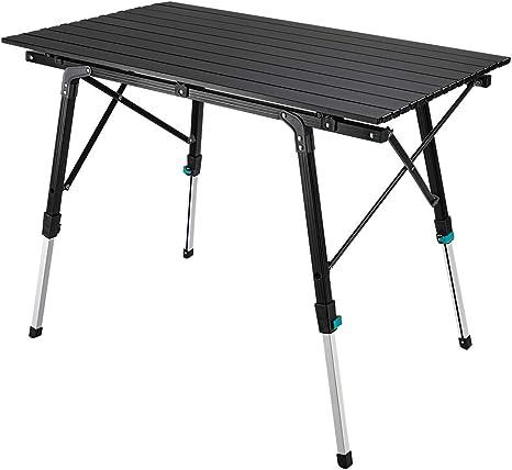 Synlyn Mesa de camping portátil Mesa plegable 90 x 52 x (45-67) cm Mesa de camping de aluminio Mesa plegable Mesa de viaje para acampar al aire libre ...