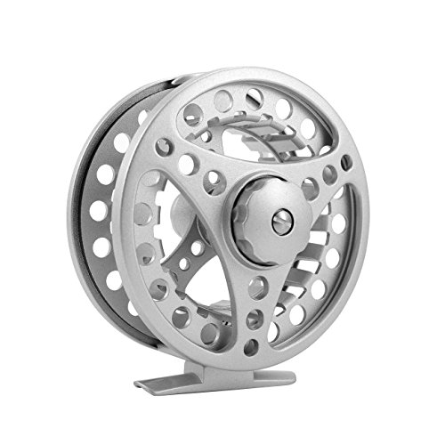 Dyna-Living Die Casting Fly Fishing Reel ALC Reel Large Arbor Smooth Spare Spool Hand Changeable Fly (5/6, Silver)