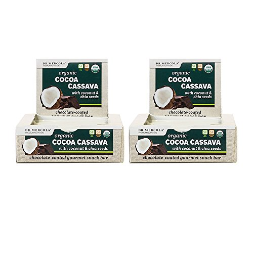 Dr. Mercola Organic Cocoa Cassava Energy Bars - 24 Ct. 2 Boxes - USDA Certified Organic w/Dark Chocolate, Chia Seeds, Almond Butter - Healthy Gluten Free Snacks, Great Meal Replacement Bars - Omega Smart Nutrition Bar
