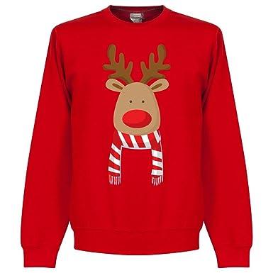 Christmas Reindeer rot/weiß Schal Supporters Sweatshirt - rot - S