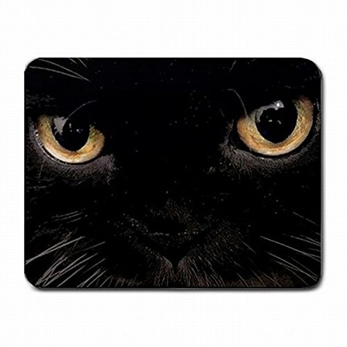 Black Cat Eyes Halloween Friday the 13th Computer PC Mouse Pad Mat Mousepad New!