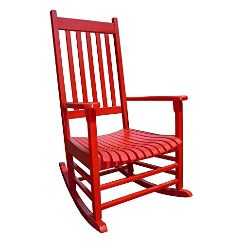 Premium Quality Patio Outdoor / Indoor Rocking Chair Wooden Furniture Chairs For Porch, Garden Deck, Beach Side And All Weather Seasons (Red)