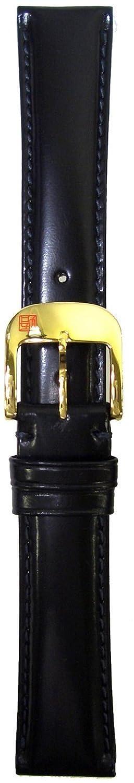 BAMBI (バンビ) さとり 松阪牛シリーズ 時計バンド 硯 (黒) マシンステッチ 美錠ゴールド 18mm HC001A0-PG  B0017IE85M