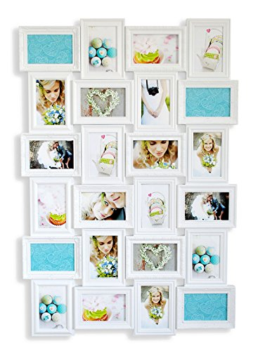 levandeo Bilderrahmen 96094 inklusiv Schrauben - Weiß für 24 Fotos 10x15 cm - Barock Antik nostalgisch Nostalgie Landhaus - Fotogalerie Collage Fotorahmen Bildergalerie