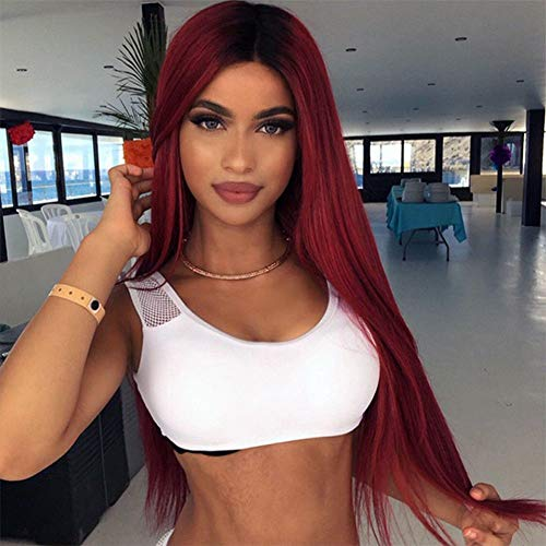 Long Straight Wine Red Wig for Beautiful Women Oblique Part Heat Resistant Fiber Synthetic Wig Hair Extensions Cosplay Costume Full Hair Wig (Wig Beautiful)