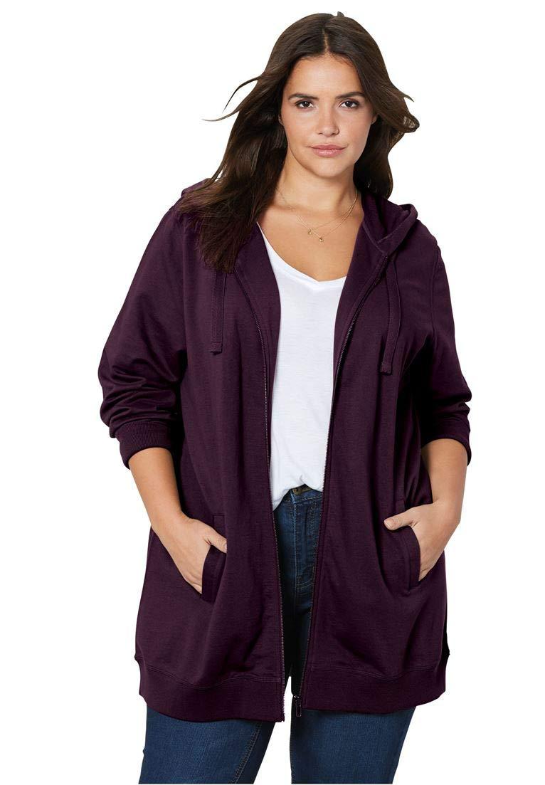 Ellos Women's Plus Size Zip Front Hoodie
