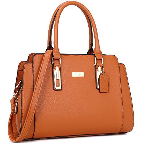 Faux Leather Satchel Handbag - Dasein Women Designer Satchel Handbags Purse Shoulder Bag Work Bag With Removable Shoulder Strap