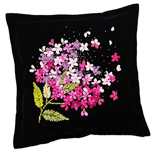 MonkeyJack Silk Ribbon Embroidery Kit Flower Design Wall Home Decor Handmade Cross Stitch 45x45cm
