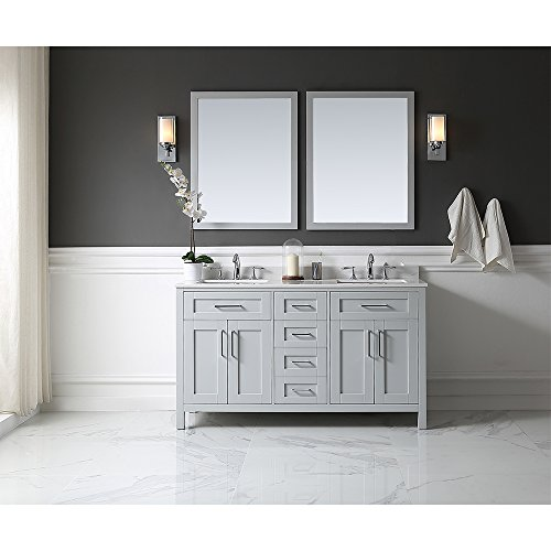 OVE Tahoe 60G Quartz Top Bathroom Double Sink Vanity, 60-Inch by 21-Inch, Dove Grey