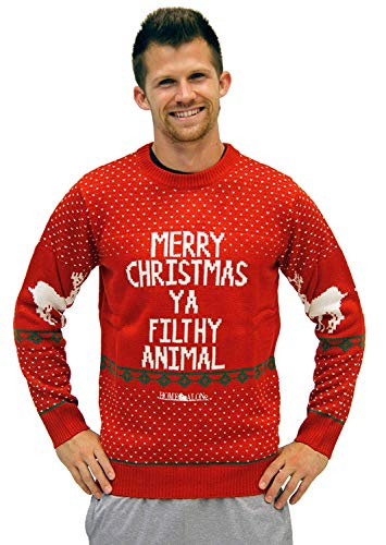 (Home Alone Merry Christmas Ya Filthy Animal Ugly Christmas Sweater (Red,)