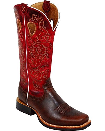 Twisted X Women's Ruff Stock Embroidered Cowgirl Boot Square Toe Saddle Brown 8.5 M US