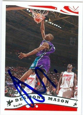 Autograph Warehouse 41972 Desmond Mason Autographed Basketball Card Milwaukee Bucks 2005 Topps No. 203 (Mason Autographed Basketball)