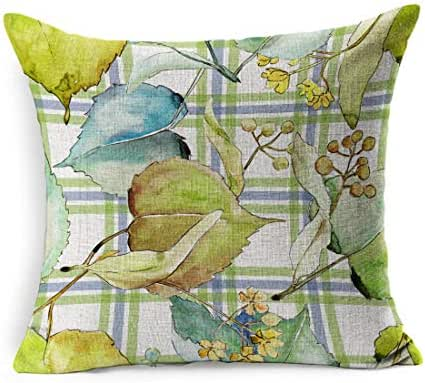 Ahawoso Linen Throw Pillow Cover Square 18x18 Colorful Plant Botanical Linden Leaves Pattern Watercolor Aquarelle Nature 2129 Green Ceramic Deciduous Drawing Pillowcase Home Decor Cushion Pillow Case