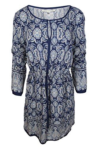 (Max Studio Women's Blue Paisley Border Print Long Sleeve Tie-Waist Dress, S)