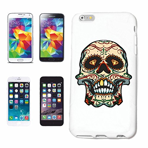 "cas de téléphone iPhone 6+ Plus ""CRÂNE AVEC GOLD DENTS SKULL BIKER ROCKER GOTHIC SCENE SKELETON DENTISTE DENTS Motorradfahrer"" Hard Case Cover Téléphone Covers Smart Cover pour Apple iPhone en blanc"