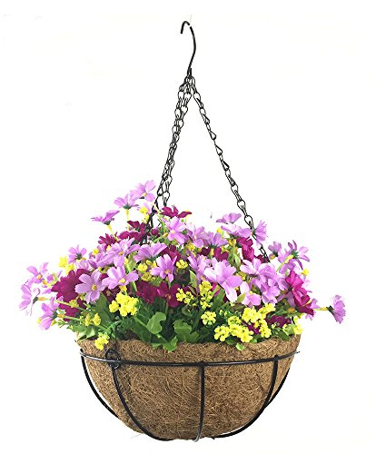 UPC 657228668965, Lopkey Artificial Daisy Flowers Outdoor Indoor Patio Lawn Garden Hanging Basket with Chain Flowerpot,Light Purple 10 Inch
