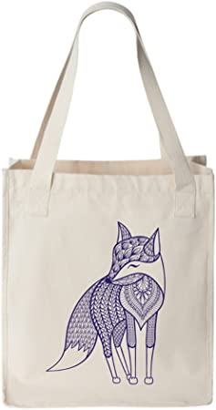 Modern Graphic Fox Quilted Tote