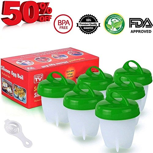 Egglettes Egg Cooker Hard   Soft Maker  No Shell  Non Stick Silicone  Poacher  Boiled  Steamer  As Seen On Tv   6 Pcs  Red Green