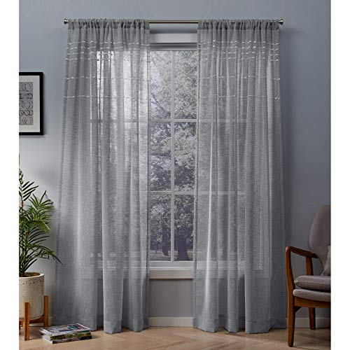 Exclusive Home Davos Puff Embellished Belgian Linen Sheer Rod Pocket Curtain Panel Pair, Dove Grey, 54x84