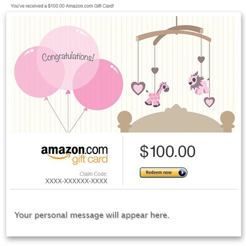 Amazon eGift Card - New Baby Girl (Balloons)