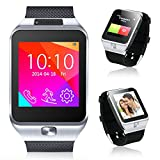 Indigi 2-in-1 Bluetooth + GSM Wireless Smart Watch Phone Cell Phone Camera MP3 for Android Galaxy S6 S6 Edge Note 4 Note 3 (Silver)