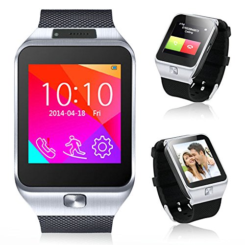 Indigi 2-in-1 Bluetooth  GSM Wireless Smart Watch Phone Cell Phone Camera MP3 For Android Galaxy S6 S6 Edge Note 4 Note 3 (Silver)