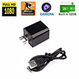 Hidden Camera - Spy Nanny Recording System With USB Wall Charger Design without audio – Motion Detection Secret HD Surveillance Camera With Internal Memory – Mini Security Device For The House