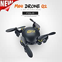 3D Drone, Foutou Q2 Mini 4-Axis 2.4Ghz 0.3MP HD Camera Wifi Headless Mode Altitude Hold Drone 3D Flip RC UAV Black