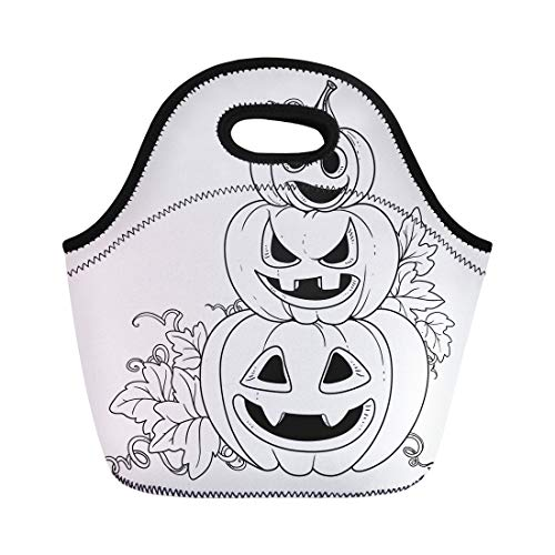 Semtomn Neoprene Lunch Tote Bag Three Lantern From Pumpkins the Cut Out of Grin Reusable Cooler Bags Insulated Thermal Picnic Handbag for Travel,School,Outdoors,Work -