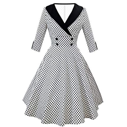Toimothcn Womens Half Sleeve Vintage Dress Hepburn Style Dot Print Ball Gown Rockabilly Evening -