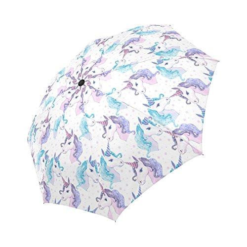 Umbrellas Painted Hand (InterestPrint Christmas Unicorn Windproof Auto Open And Close Folding Umbrella,Watercolor Painting Lightweight Outdoor Travel Sun And Rain Umbrella UV Protection)