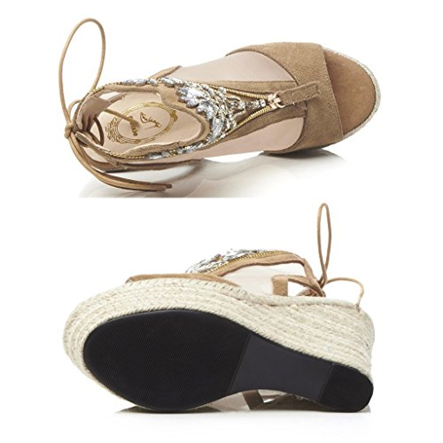 SANDALES compensées kaki plateforme confortable strass peep toe talons hauts sangle femmes chaussures (Couleur : Kaki, taille : 37) Kaki