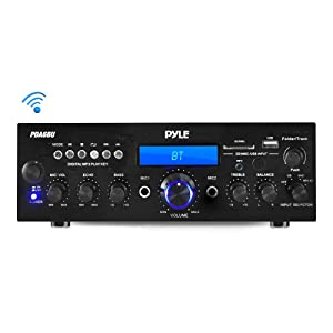 Compact Bluetooth Stereo Amplifier - Desktop Audio Power Amp Receiver with FM Radio, MP3/USB/SD Readers, Digital LCD Display, Microphone Input (200 Watt)