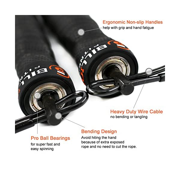 5BILLION Speed Jump Rope - Nature Handle - Adjustable with Ball Bearings - Workout for Double Unders, WOD, Outdoor, MMA & Boxing Training 3