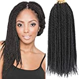 8 Packs 14 Inch Senegalese Twist Crochet Hair Synthetic Braiding Hair Extension Short Small Havana Mambo Twist Crochet Braids 20strands/pack (14 Inch, 1B)