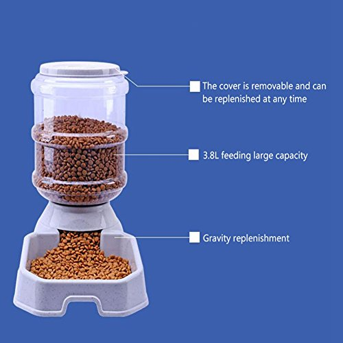 CW&T WW Pet Automatic Feeder Waterer Square3.8L Large Capacity Gravity Replenishment Dog Cat Food Dispenser,Beige by CW&T (Image #3)