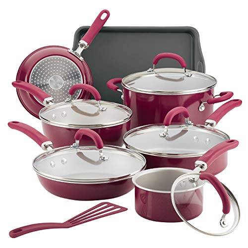 Rachael Ray 12145 13-Piece Aluminum Cookware Set, Burgundy Shimmer