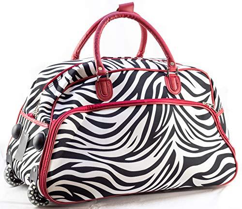 Red Trim Zebra - Uni Collections 21-Inch Wheeled Duffle Bag (Zebra Print Red Trim)