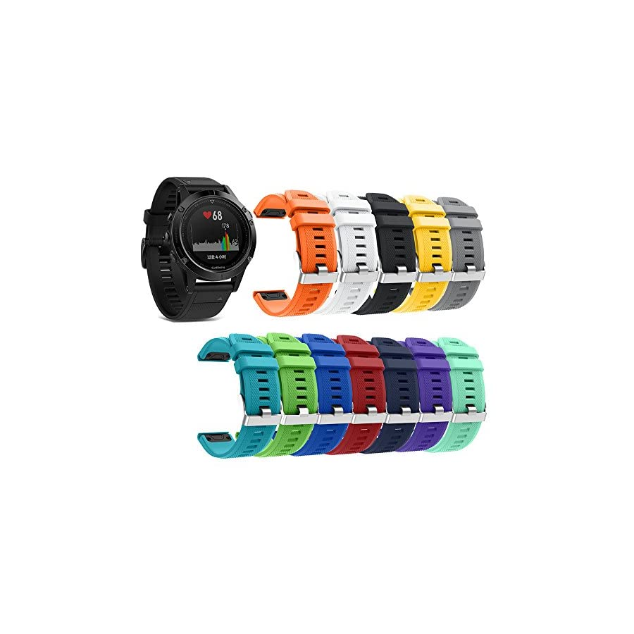 KisFace for Garmin Fenix 5 Replacement Elastomer Bands, Accessories Wristbands with Multicolor Choices and Photo Printed for Garmin Fenix 5 & Forerunner 935