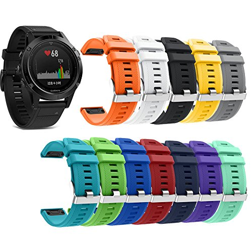 KisFace Garmin Fenix 5 Replacement Elastomer Bands, Accessories Wristbands with Multicolor Choices and Photo Printed for Garmin Fenix 5 & Forerunner 935