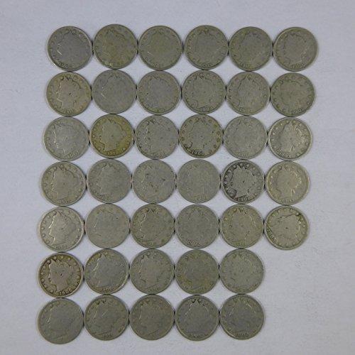 Liberty Head V Nickels Random Dates - 40 Coin Roll AG-G Avg Circulated