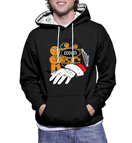 HAASE UNLIMITED Men's Lightsaber Gingerbread Man Two Tone Hoodie Sweatshirt (Black/White Strings, - Two Sleigh Tone