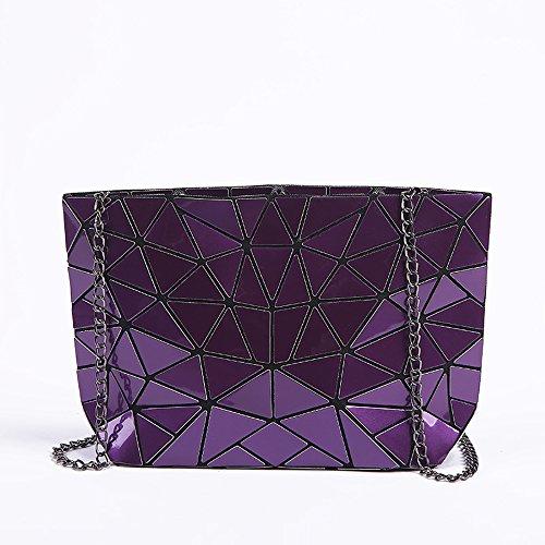 Wdbb Lingge - Multifunctional Shoulder Bag Fashion Casual Shoulder Bag 17 Cm × 28 Cm, Purple Blue