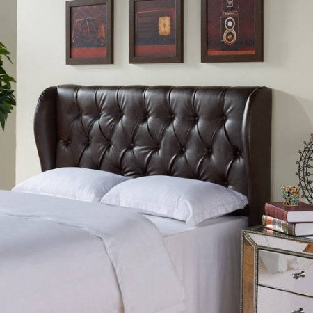 Better Homes and Gardens Scalloped Wingback Tufted Upholstered Headboard King/Cal King Brown Bonded Leather (King Cal Headboard Leather)