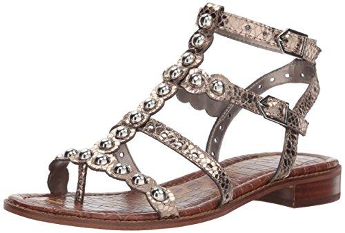 Sam Edelman Women's Elisa Flat Sandal, Pewter Metallic boa, 7.5 M US