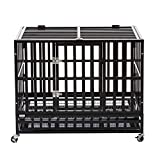 Cheap PANEY 37″ Large Heavy Duty Metal Rolling Dog Crate Cage Pet Kennel Playpen Exercise w/Wheels Tray Square Tube