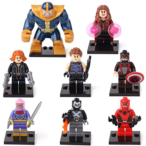 [JSM Civil War GiantMan Thanos Scarlet Witch 8 Minifigures Building Bricks toys lEGO] (The Avengers 2 Scarlet Witch Costume)