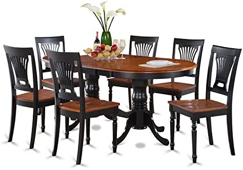 PLAI7-BLK-W 7 Pc Dining room set-Dining Table and 6 Kitchen Dining Chairs