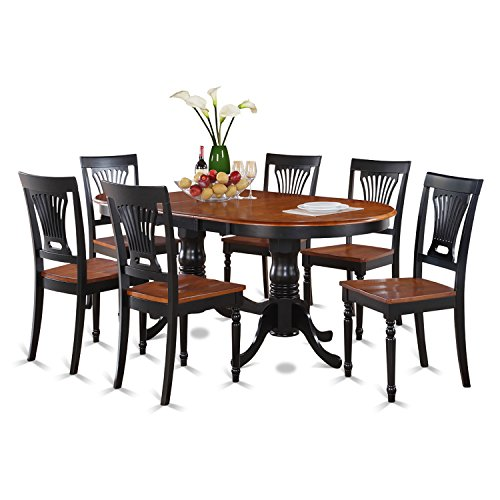 East West Furniture PLAI7-BLK-W 7-Piece Dining Table Set