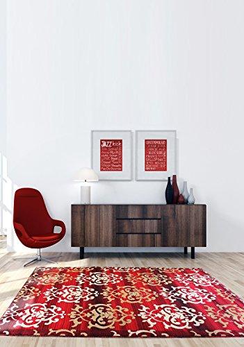 Ecarpetgallery Casual Crown Open Field 6' x 9' Red living room dining room arearug by eCarpet Gallery